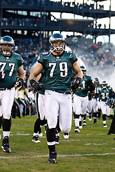 Philadelphia Eagles guard Todd Herremans #79 enters the field before the NFL Game between the Indianapolis Colts and the Philadelphia Eagles. The Eagles won 26-24 at Lincoln Financial Field in Philadelphia, Pennsylvania on Sunday November 7th 2010. (Photo By Brian Garfinkel)