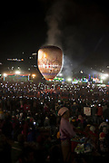 People watching the giant air ballon going up into the sky, Taunggyi Ballon Festival, in Taunggyi, Myanmar.<br /> Note: These images are not distributed or sold in Portugal
