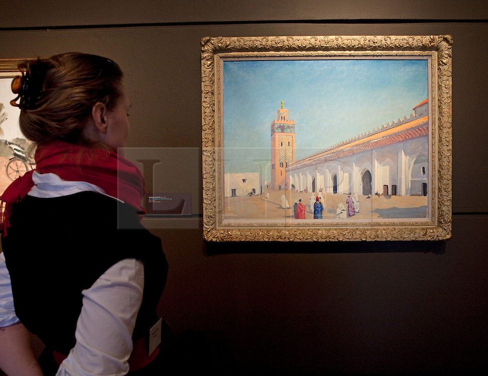 © Licensed to London News Pictures. 19/01/2012. London, U.K..Preview of exhibition Meetings in Marrakech: the paintings of Hassan El Glaoui and Winston Churchill. The exhibition runs between 20 January – 31 March. IT is the first time the paintings of Winston Churchill have been exhibited with another artist Leighton House Museum. Painting by Winston Churchill titled 'The Mosque at Marrakech', 1948..Photo credit : Rich Bowen/LNP