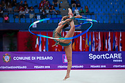 Varay Mira during the qualification of ribbon at the Pesaro World Cup 2018. She was born in Budapest Hungary in 2001.