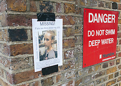 © Licensed to London News Pictures. 05/09/2014. Brentford, UK A missing persons poster featuring missing schoolgirl Alice Gross. Alice Gross of Hanwell, west London, was last seen by her family at about 13:00 BST on 28 August. CCTV footage shows her walking along the Grand Union Canal tow path near the Holiday Inn at Brentford Lock between 13:30 BST and 17:30 BST.. Photo credit : Stephen Simpson/LNP