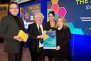 27/01/2014SCCUL Enterprise Award<br /> Consumer Goods & Services<br /> (Businesses under 3 Years)<br /> One To Watch<br /> Embrace<br /> <br /> <br /> GMIT's Ivan McPhillips presented  Andrea Zipoli, (rhs) Caitriona McLoughlin and Reenagh McCall with their award. <br /> Winners of the acclaimed 'Most Creative design' award at the Ultra Lingerie showcase in Paris, Embrace Lingerie are fast becoming synonymous with style and innovation in design.<br /> Designed in Galway and made in Italy with fabrics at the cutting edge of technology, Embrace offers unique and sumptuous designs aimed at the higher end of the market.<br /> Achievements include being selected as one of Irelands top three product innovations in the 2012 Irish Times Intertrade Ireland Innovation Awards and being showcased as 'one to watch' in the Irish Fashion Innovation Awards.<br />  <br /> <br />  Photo:Andrew Downes.