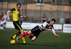 Edinburgh City's Ross Guthrie and East Stirling's Kris Faulds. East Stirling v Edinburgh City, League play-off game.