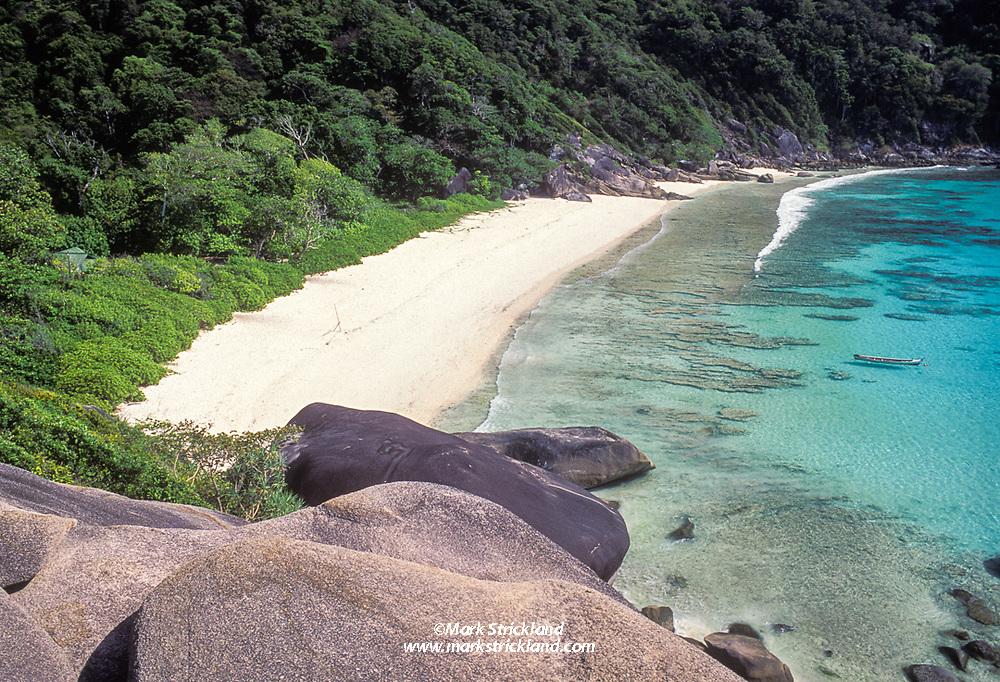 An easy hike provides a great view of an idyllic beach at Ko Similan, Similan Islands National Marine Park, Thailand, Andaman Sea