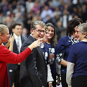 UNCASVILLE, CONNECTICUT- DECEMBER 19:  Head coach Geno Auriemma of the UConn Huskies during celebrations after recording his 1000th win as head coach of the team during the Naismith Basketball Hall of Fame Holiday Showcase game between the UConn Huskies Vs Oklahoma Sooners, NCAA Women's Basketball game at the Mohegan Sun Arena, Uncasville, Connecticut. December 19, 2017 (Photo by Tim Clayton/Corbis via Getty Images)