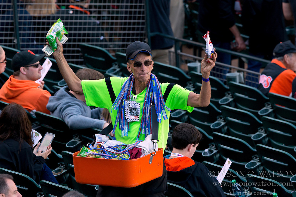SAN FRANCISCO, CA - APRIL 18:  A concession vendor selling in the stands before the game between the San Francisco Giants and the Arizona Diamondbacks at AT&T Park on April 18, 2015 in San Francisco, California.  The San Francisco Giants defeated the Arizona Diamondbacks 4-1. (Photo by Jason O. Watson/Getty Images) *** Local Caption ***