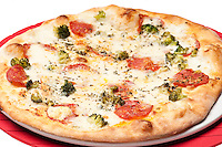 Delicious gourmet pizza og thin dough italian style.