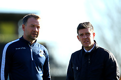 Bristol Rovers manager Darrell Clarke and Bristol Rovers assistant manager Marcus Stewart - Mandatory by-line: Robbie Stephenson/JMP - 17/02/2018 - FOOTBALL - Cherry Red Records Stadium - Kingston upon Thames, England - AFC Wimbledon v Bristol Rovers - Sky Bet League One