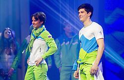 Teja Gregorin and Zan Kranjec during presentation of Team Slovenia for Sochi 2014 Winter Olympic Games on January 22, 2014 in Grand Hotel Union, Ljubljana, Slovenia. Photo by Vid Ponikvar / Sportida