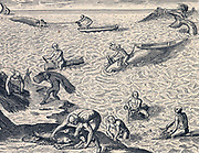 Caribbean Indians whaling.  After early 17th century copperplate engraving.