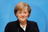 23 JAN 2006, BERLIN/GERMANY:<br /> Angela Merkel, CDU Bundesvorsitzende und Bundeskanzlerin, waehrend einer Pressekonferenz, Konrad-Adenauer-Haus<br /> Angela Merkel, Federal Chancellor of Germany, during a press conference, Konrad-Adenauer-Haus<br /> IMAGE: 20060123-02-003