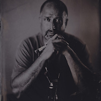 Steven Harvey, artist, tintype portrait made with wetplate collodion process.