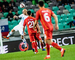 Aljaž Struna of Slovenia and Eljif Elmas of Macedonia and Visar Musliu of Macedonia during football match between National teams of Slovenia and North Macedonia in Group G of UEFA Euro 2020 qualifications, on March 24, 2019 in SRC Stozice, Ljubljana, Slovenia.  Photo by Matic Ritonja / Sportida