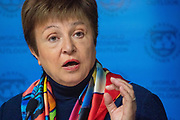 Kristalina Georgieva, Managing Director of the International Monetary Fund (IMF), Bulgaria, speaking in the Press Conference: IMF World Economic Outlook Update session at the World Economic Forum Annual Meeting 2020 in Davos-Klosters, Switzerland, 22 January. Congress Centre - Press Conference Room. Copyright by World Economic Forum/ Greg Beadle