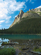 Low-angle view of beautiful, remote Lake O'Hara and the Wiwaxy Peaks in the background, in Yoho National Park, near Field, British Columbia, Canada