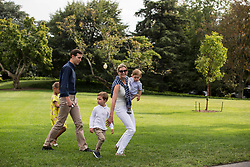 Special Advisor to The President Jared Kushner and Special Advisor to The President Ivanka Trump walk across the South Lawn of the White House with their children, Arabella, 6, Joseph, 3, and Theodore, 1. The Kishner's accompanied the first family to Camp David for the weekend. Credit: Alex Edelman / Pool via CNP