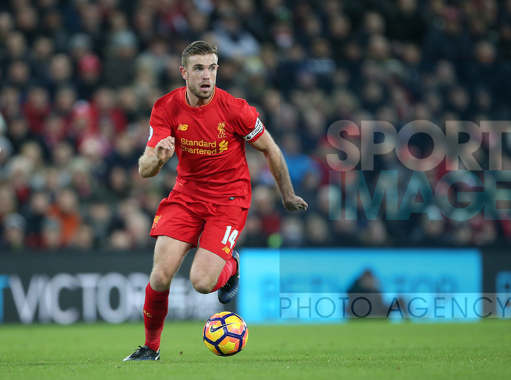 Liverpool's Jordan Henderson in action during the Premier League match at Anfield Stadium, Liverpool. Picture date December 27th, 2016 Pic David Klein/Sportimage