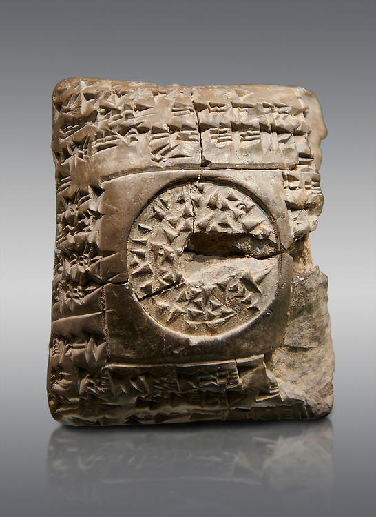 Hittite cuneiform clay tablet. A Property donation deed - Hattusa (Bogazkoy),  1700 BC to 1500BC - Museum of Anatolian Civilisations, Ankara, Turkey. Against a grey  background