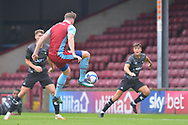 Kevin van Veen (10) shoots at goal during the Pre-Season Friendly match between Scunthorpe United and Doncaster Rovers at Glanford Park, Scunthorpe, England on 15 August 2020.