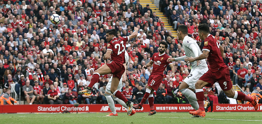 Liverpool's Emre Can fails to direct an aerial ball on target during the second half<br /> <br /> Photographer Rich Linley/CameraSport<br /> <br /> The Premier League - Liverpool v Manchester United - Saturday 14th October 2017 - Anfield - Liverpool<br /> <br /> World Copyright © 2017 CameraSport. All rights reserved. 43 Linden Ave. Countesthorpe. Leicester. England. LE8 5PG - Tel: +44 (0) 116 277 4147 - admin@camerasport.com - www.camerasport.com