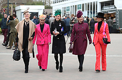 Dolly Maude (second left), Zara Tindall (centre right) and Chanelle McCoy (right) during Ladies Day of the 2019 Cheltenham Festival at Cheltenham Racecourse.