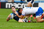 Sam Johnson (Scotland) tackled by Giosue Zilocchi (Italy) during the Autumn Nations Cup, rugby union Test match between Italy and Scotland on November 14, 2020 at the Artemio Franchi stadium in Florence, Italy - Photo Ettore Griffoni / LM / ProSportsImages / DPPI