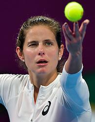 DOHA, Feb. 15, 2019  Julia Goerges of Germany serves during the women's singles quarterfinal between Simona Halep of Romania and Julia Goerges of Germany at the 2019 WTA Qatar Open in Doha, Qatar, Feb. 14, 2019. Julia Goerges lost 0-2. (Credit Image: © Nikku/Xinhua via ZUMA Wire)