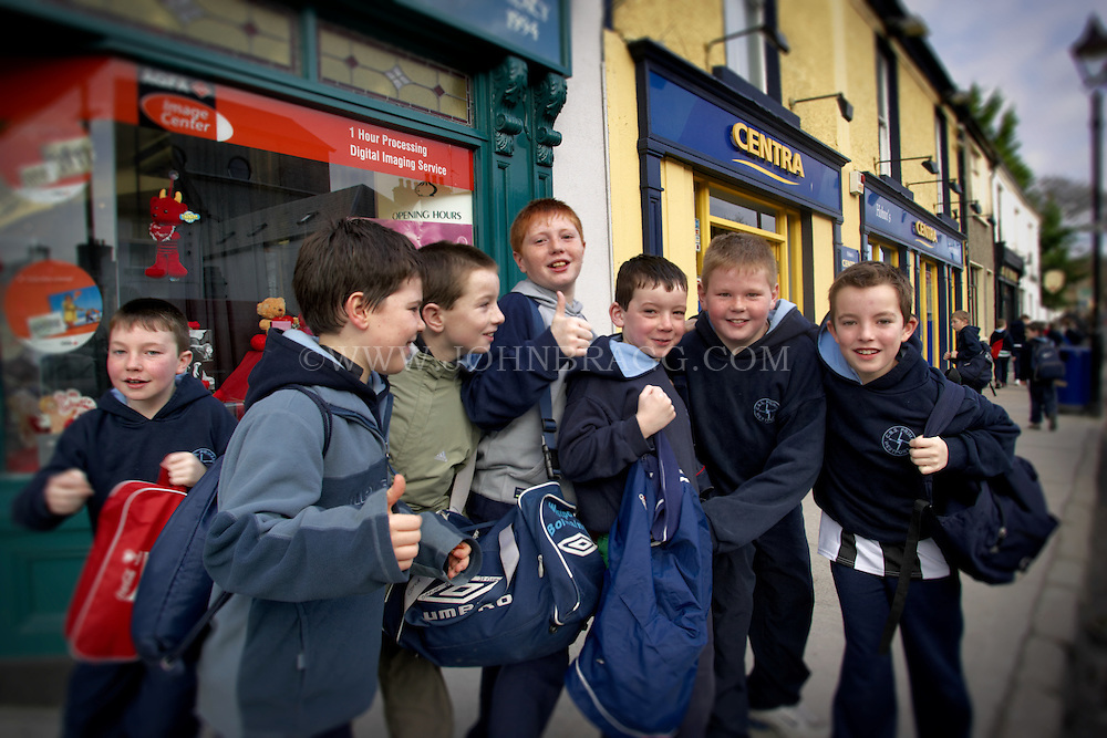 Irish kids on the street in Westport, county Donegal, Ireland
