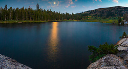 """""""Full Moon at Showers Lake"""" - Stitched panoramic photograph of a full moon rising above Showers Lake along the Tahoe Rim Trail and the Pacific Crest Trail, south of South Lake Tahoe a bit."""