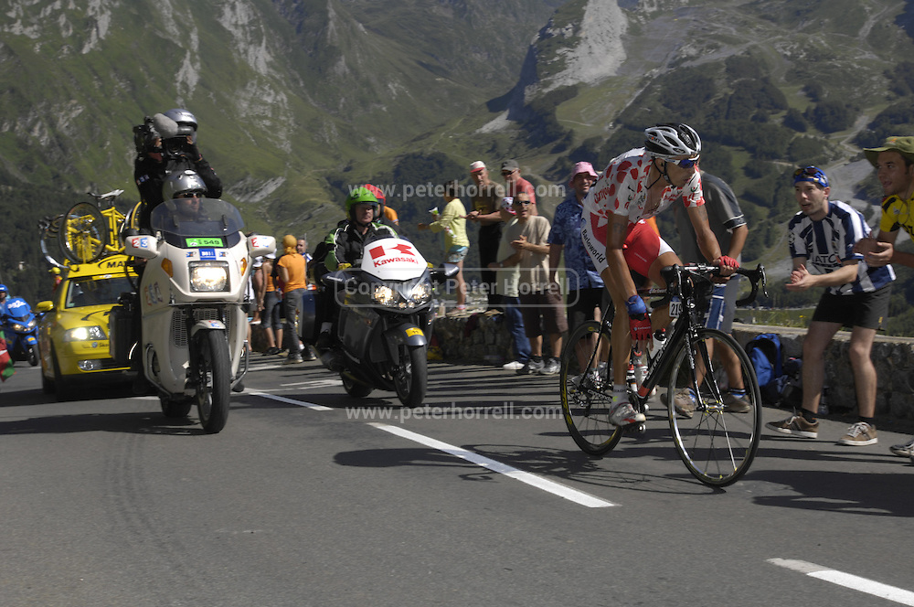 FRANCE 25th JULY 2007: Images from Stage 16 Orthez to Gorette - Col d'Aubisque. Barloworld's Soler races up the Col d'Aubisque.