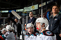 KELOWNA, BC - FEBRUARY 28: Kelowna Rockets interim head coach, Kris Mallette, stands on the bench for his first home game as head coach against the Everett Silvertips at Prospera Place on February 28, 2020 in Kelowna, Canada. (Photo by Marissa Baecker/Shoot the Breeze)