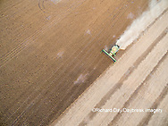 63801-09607 Soybean Harvest, John Deere combine harvesting soybeans - aerial - Marion Co. IL