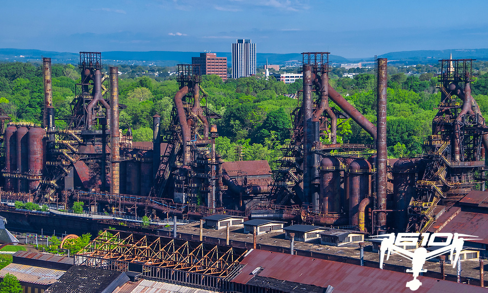 Former Bethlehem Steel Corp's remaining buildings create a iconic skyline for the Christmas City.  The skyline Changed on May 19, 2019 when the Martin Tower building was demolished by implosion.