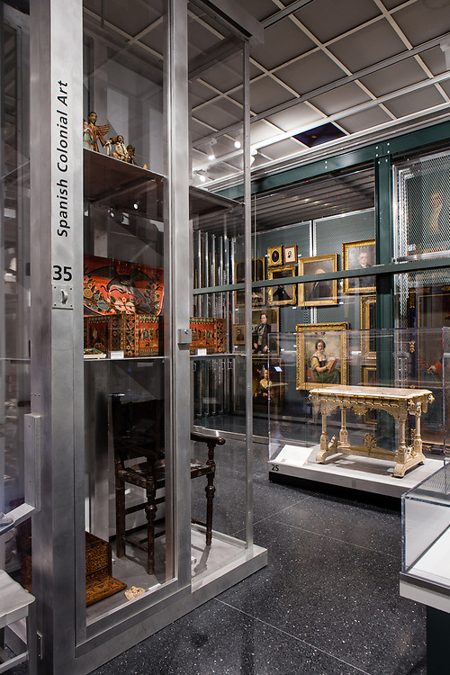 In the case in the foreground are objects of Spanish Colonial Art in the Luce Center for American Art Visible Storage Study Collection of the Brooklyn Museum.