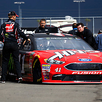 March 16, 2018 - Fontana, California, USA: The car of Kurt Busch (41) is pushed in the garage by his crew before practice for the Auto Club 400 at Auto Club Speedway in Fontana, California.