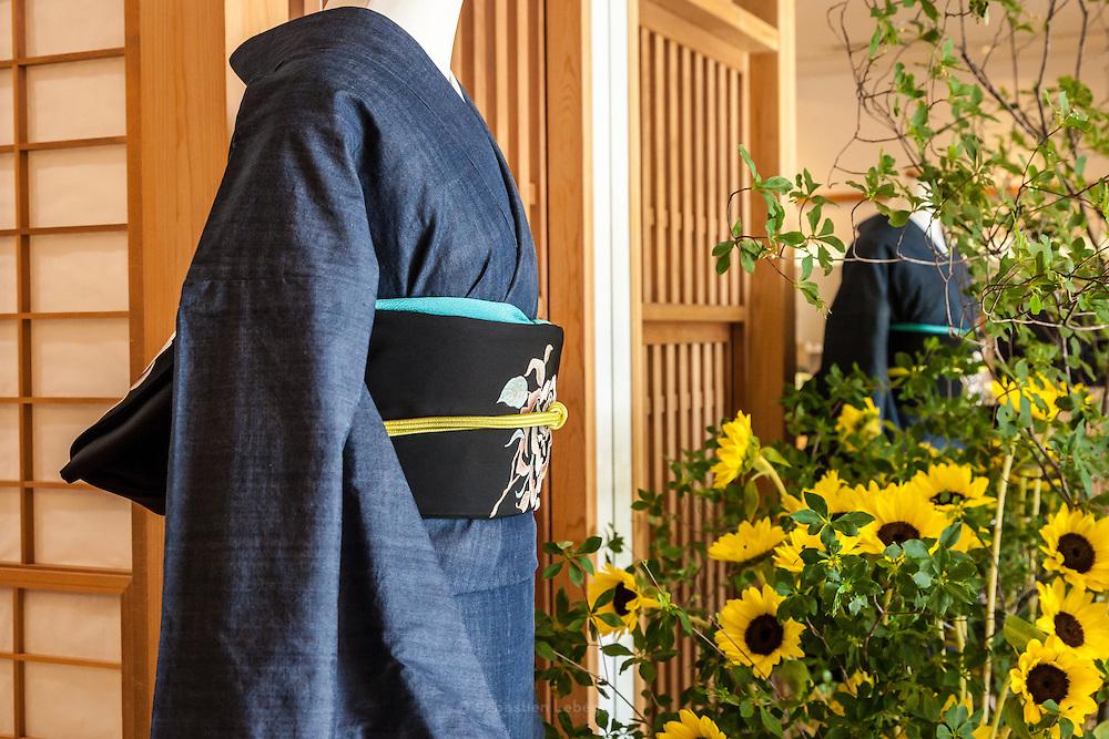 JAPAN, TOKYO -  Kururi Kimono , Dark grey blue Kimono , Black obi with White flowers - from the shop Kururi in Omotesando - 06-2014