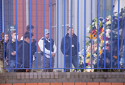 ©Licensed to London News Pictures 29/09/2020  <br /> Croydon, UK. Colleagues of Sgt Matt Ratana visit the flowers at Croydon Custody Centre yard. The murder investigation continues after the death of police sergeant Matt Ratana at the Croydon Custody Centre in South London last week. Photo credit:Grant Falvey/LNP