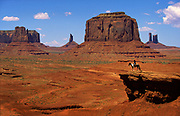 Classic view of the Mittens and Merrick Butte in Monument Valley, AZ
