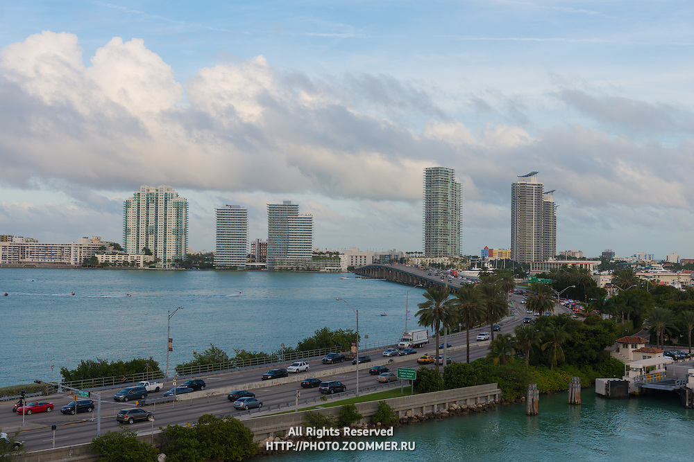 MacArthur Causeway seen from the Main Channel, In Miami