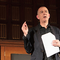 Author and former Hacienda DJ Dave Haslam introduces the  closing event for the Thirty One Songs project at Manchester Town Hall,  Albert Square, Manchester, UK. 2013-03-03
