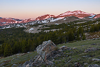 The views from Highland Park in the Cloud Peak Wilderness were even more beautiful at sunrise than they were at sunset. Dozens of elk were grazing in the meadow below while alpenglow touched the highest peaks.
