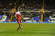 Middlesbrough's Daniel Sanchez Ayala celebrates after scoring his sides 2nd goal during the Skybet football league championship match, Birmingham city v Middlesbrough at St.Andrew's in Birmingham, England on Sat 7th Dec 2013. pic by Jeff Thomas/Andrew Orchard sports photography.