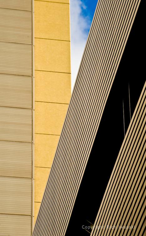 Detail view of parking garage siding, Kumamoto city, Kumamoto Prefecture, Japan