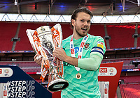 Blackpool's Chris Maxwell with the EFL trophy<br /> <br /> Photographer Andrew Kearns/CameraSport<br /> <br /> The EFL Sky Bet League One Play-Off Final - Blackpool v Lincoln City - Sunday 30th May 2021 - Wembley Stadium - London<br /> <br /> World Copyright © 2021 CameraSport. All rights reserved. 43 Linden Ave. Countesthorpe. Leicester. England. LE8 5PG - Tel: +44 (0) 116 277 4147 - admin@camerasport.com - www.camerasport.com