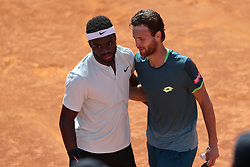 May 6, 2018 - Estoril, Portugal - Joao Sousa of Portugal (R ) hugs Frances Tiafoe of US after winning the Millennium Estoril Open ATP 250 tennis tournament final, at the Clube de Tenis do Estoril in Estoril, Portugal on May 6, 2018. (Joao Sousa won 2-0) (Credit Image: © Pedro Fiuza/NurPhoto via ZUMA Press)