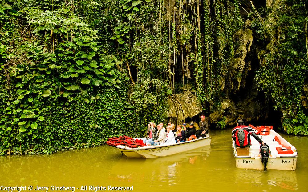 Boat ride at the Cueva del Indio, Cave of the Indian, limestone cave in Pinar del Rio, Cuba.,