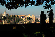 Alhambra Palace seen from The Generalife / GRANADA / Andalusia Region / Spain. Route by train after the steps of Washington Irving, romantic American writer who travelled in 1829 from Seville to Granada, where he wrote 'Tales of the Alhambra'. Fascinated by the wealth and exoticism of the Spanish-Muslim civilization, Irving was responsible, along with the French writers of the 19th century, for the romantic image of Al-Andalus. Alberto Paredes / 4SEE