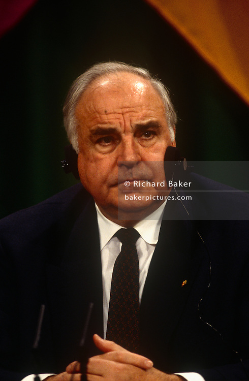 German Chancellor Helmut Kohl during the joint press conference during the Anglo-German summit on 11th November 1992 at Heythrop Park in Oxfordshire, England.