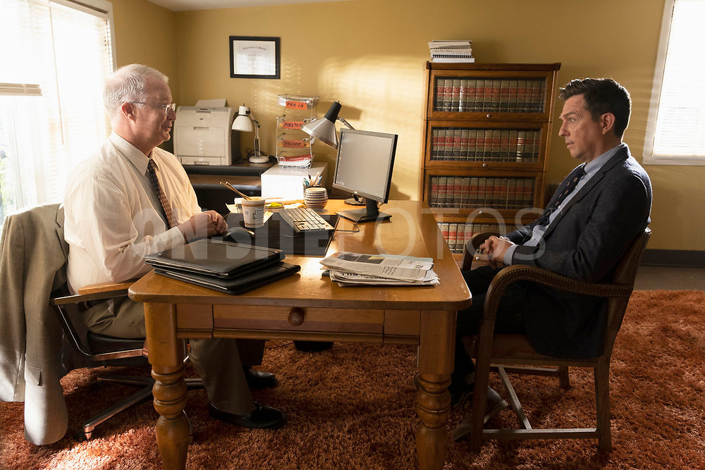 """RUTHERFORD FALLS -- """"Negotiations"""" Episode 106 -- Pictured: (l-r) Bill Glass as Frank, Ed Helms as Nathan Rutherford --   (Photo by: Colleen Hayes/Peacock)"""
