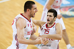 Ramazan Tekin of Turkey and Ayhan Kentli of Turkey celebrate during basketball match between National teams of Turkey and Slovenia in Qualifying Round of U20 Men European Championship Slovenia 2012, on July 17, 2012 in Domzale, Slovenia. Slovenia defeated Turkey 72-71 in last second of the game. (Photo by Vid Ponikvar / Sportida.com)